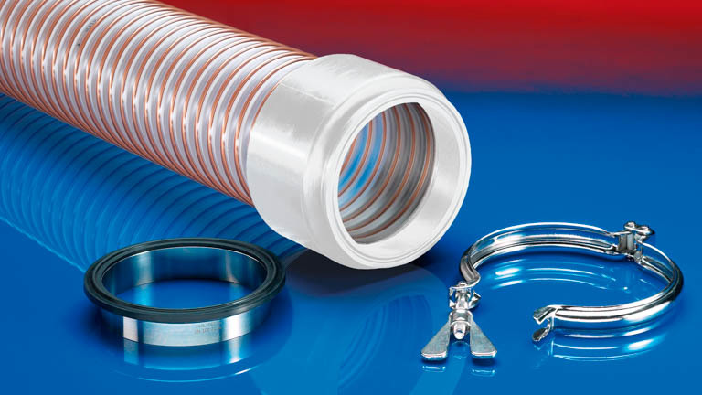 Hose connections for the food and pharmaceutical industries